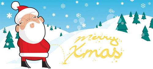 yellow snow Christmas Design Resources: Santa Claus